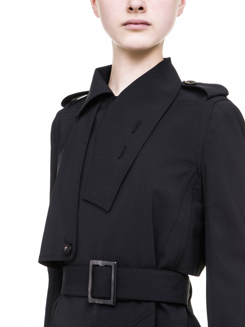 RICK OWENS TRENCH IN BLACK WOOL