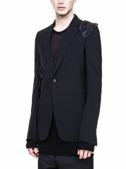 RICK OWENS FW17 SOFT DRAPED BLAZER IN BLACK