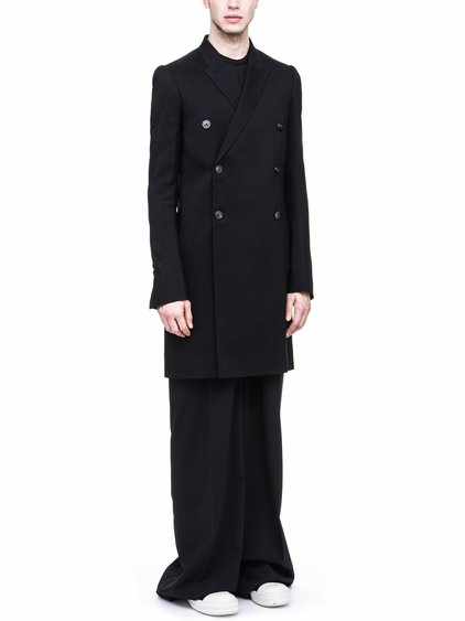RICK OWENS FW17 JMF PEACOAT IN BLACK WOOL