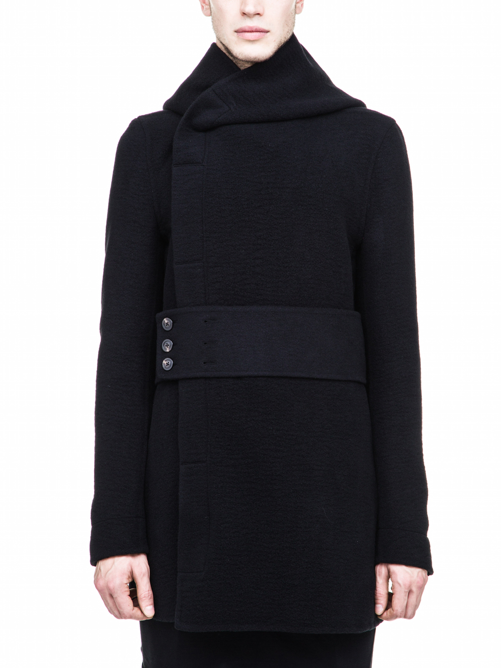 RICK OWENS HOODED PEACOAT IN BLACK CASHMERE
