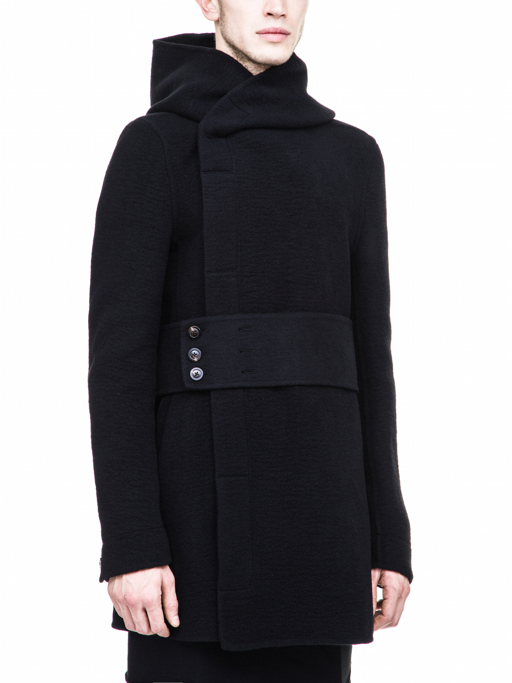 RICK OWENS FALL COAT IN BLACK CASHMERE FOR MENS
