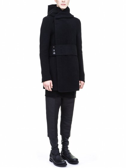 RICK OWENS FALL WINTER PEACOAT IN BLACK