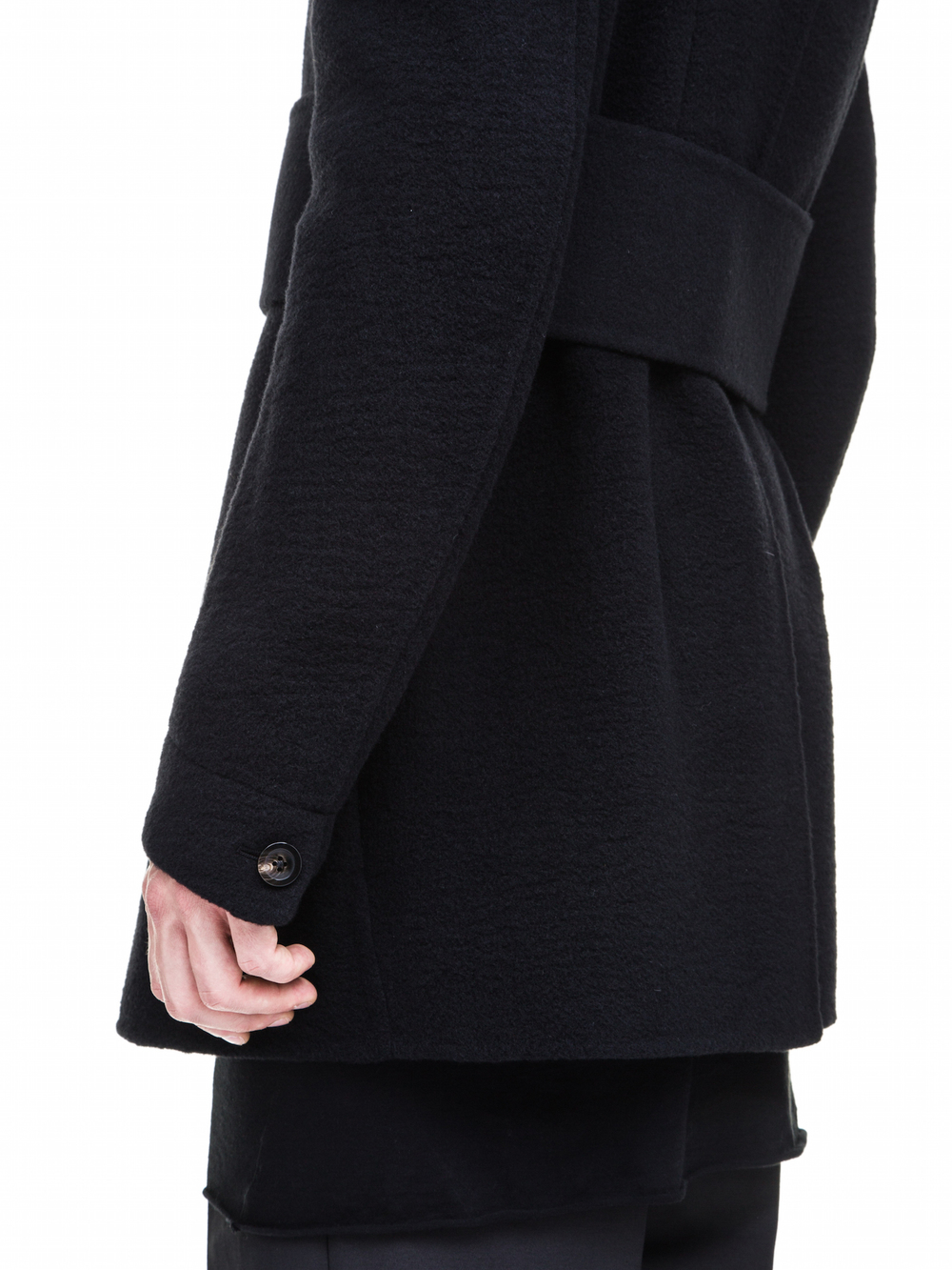 RICK OWENS PEACOAT IN BLACK HEAVY CASHMERE