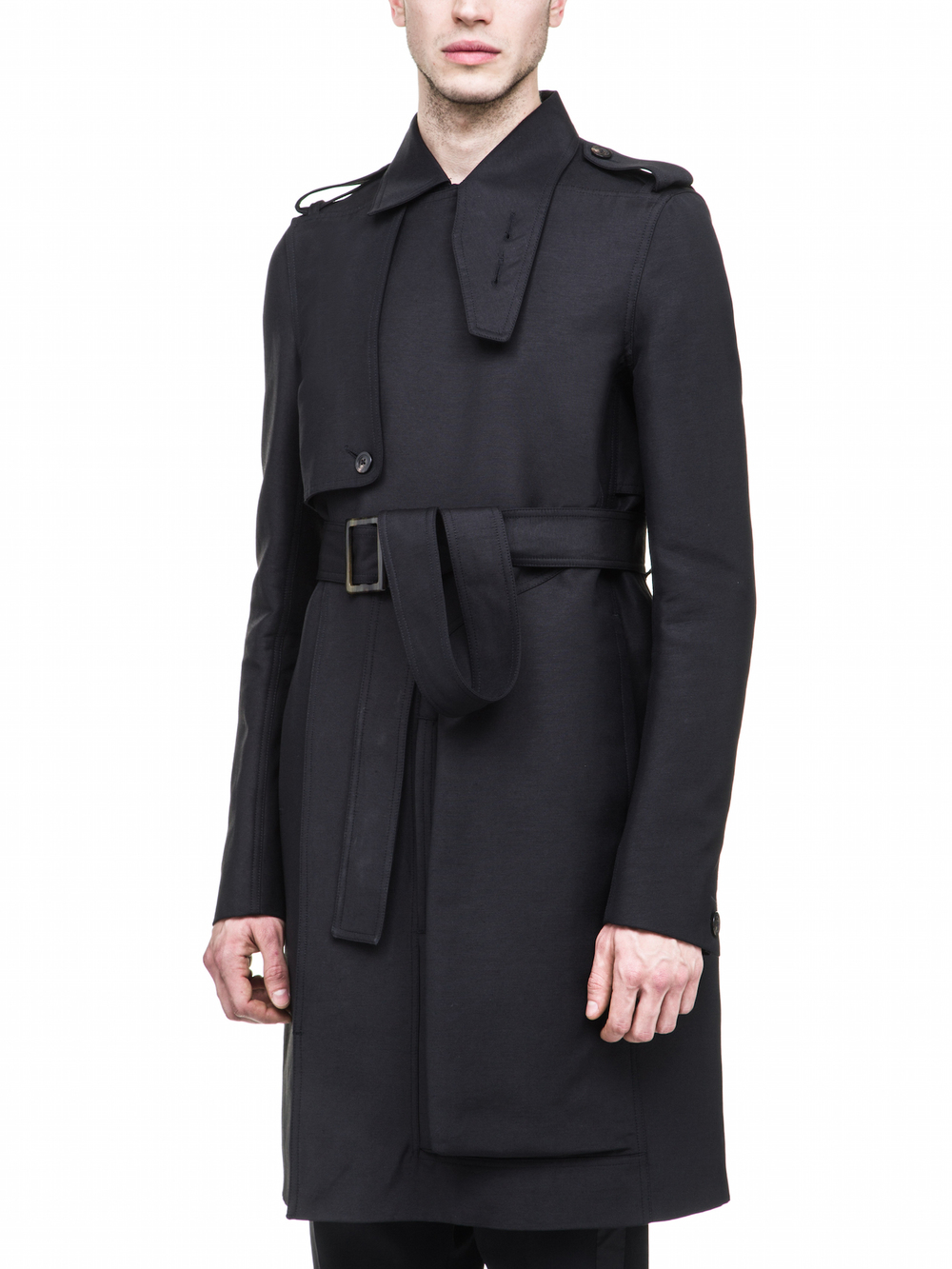 RICK OWENS FW17 CARGO TRENCH IN BLACK
