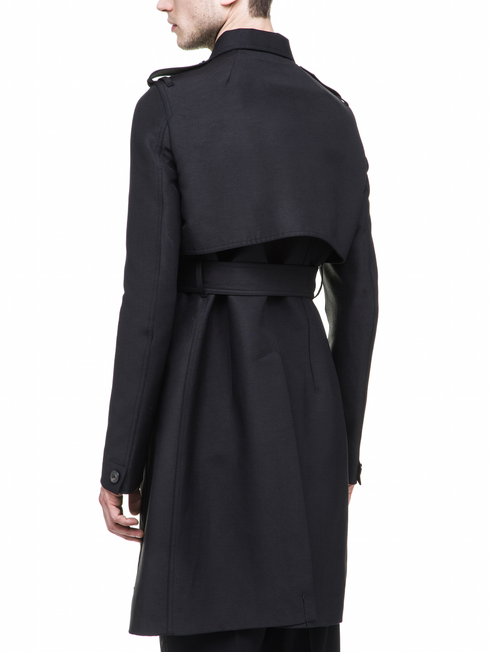 RICK OWENS TRENCH IN BLACK FOR MENS