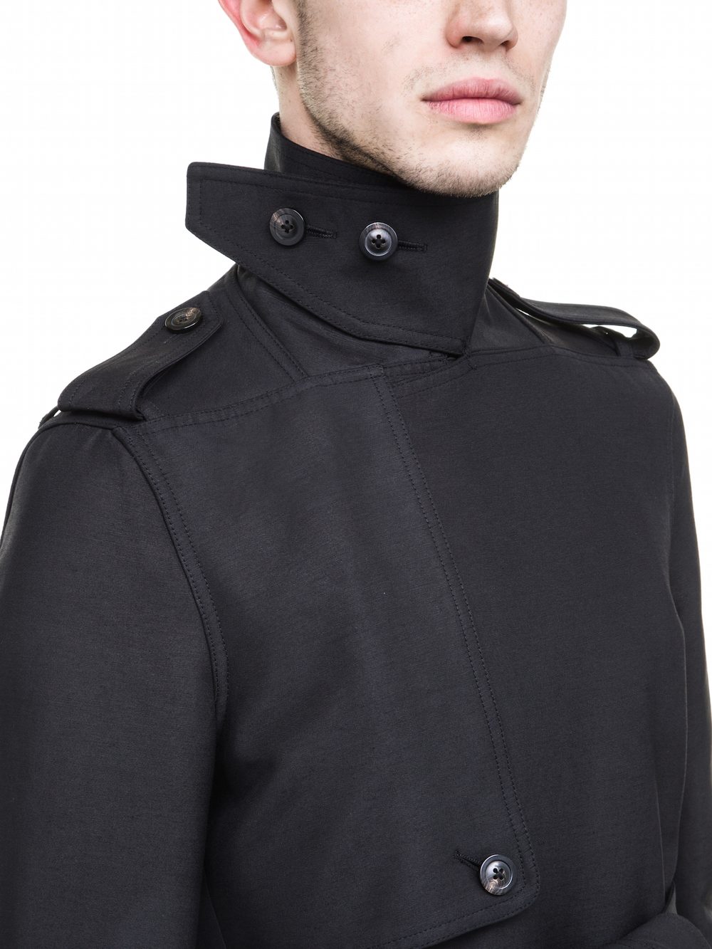 RICK OWENS MENS TRENCH IN BLACK