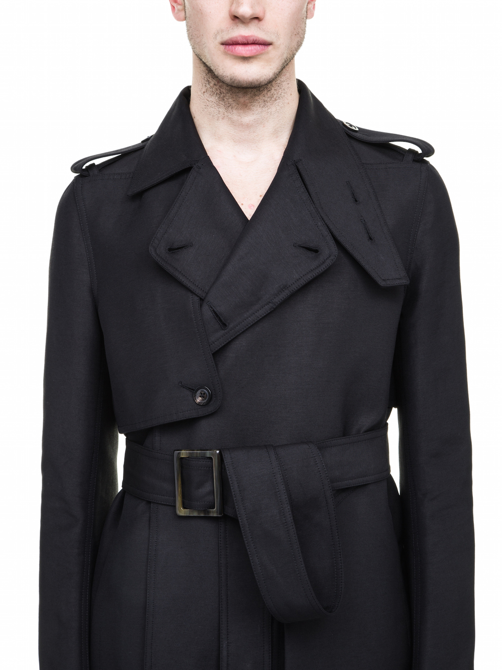 RICK OWENS FALL WINTER TRENCH IN BLACK