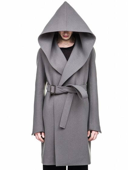 RICK OWENS FW17 HOODED TRENCH IN GREY