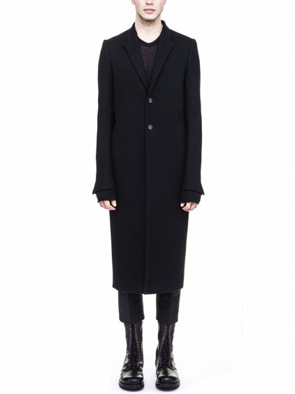 RICK OWENS FW17 MOREAU COAT IN BLACK WOOL