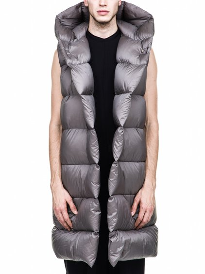 RICK OWENS FALL WINTER LINER IN GREY NYLON SLEEVELESS