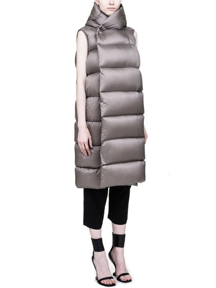 RICK OWENS FW17 GLITTER LINER SLEEVELESS DOWN JACKET IN DARKDUST