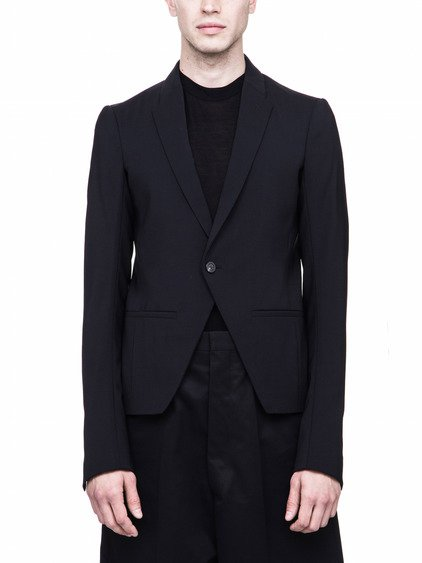 RICK OWENS FW17 GLITTER SHORT SOFT BLAZER IN BLACK
