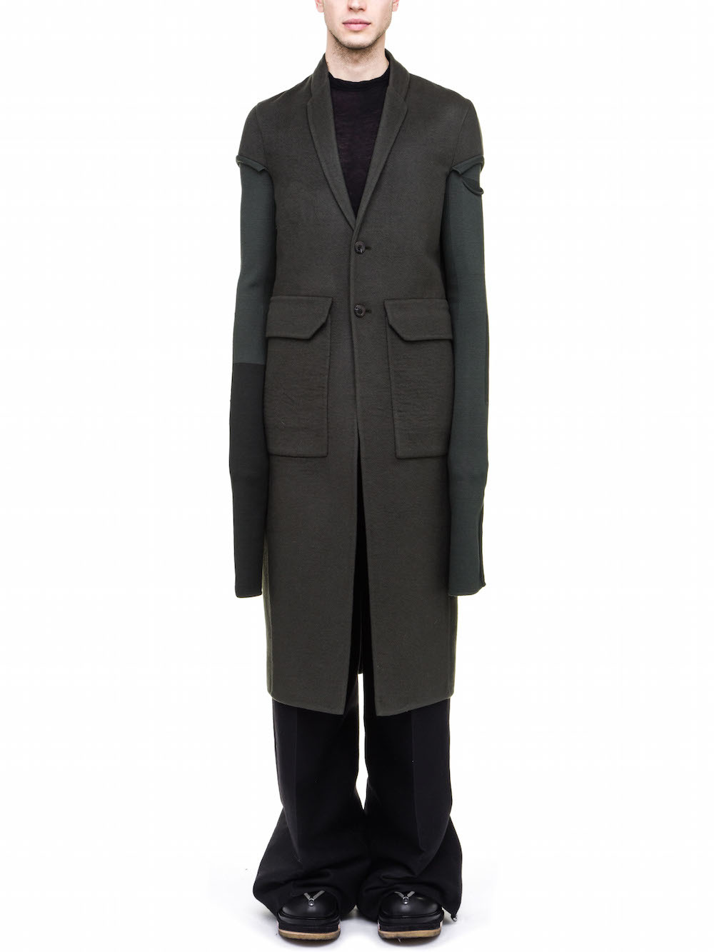 RICK OWENS OFF-THE-RUNWAY COAT IN CASHMERE