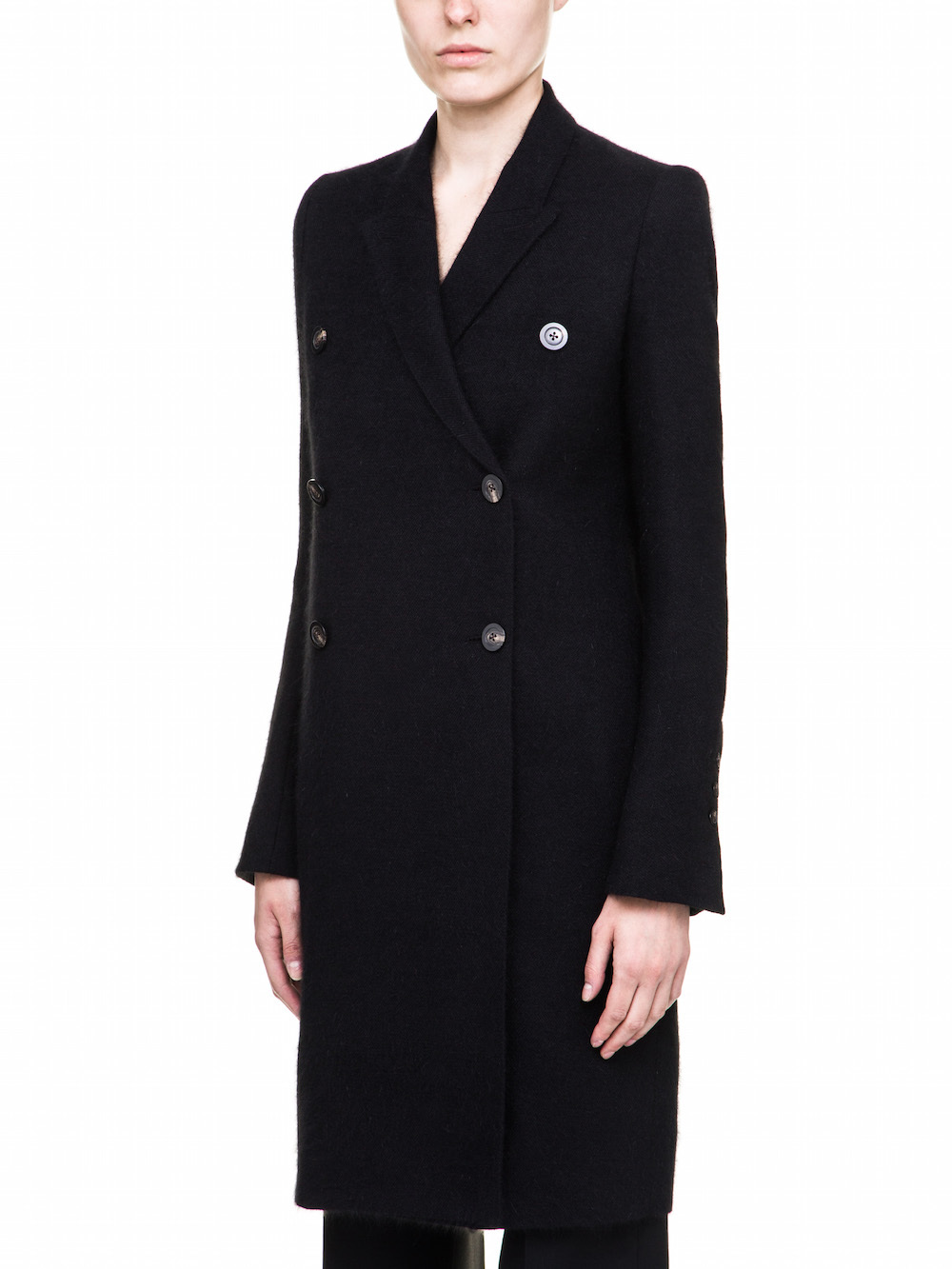 RICK OWENS FALL WINTER PEACOAT IN MOHAIR