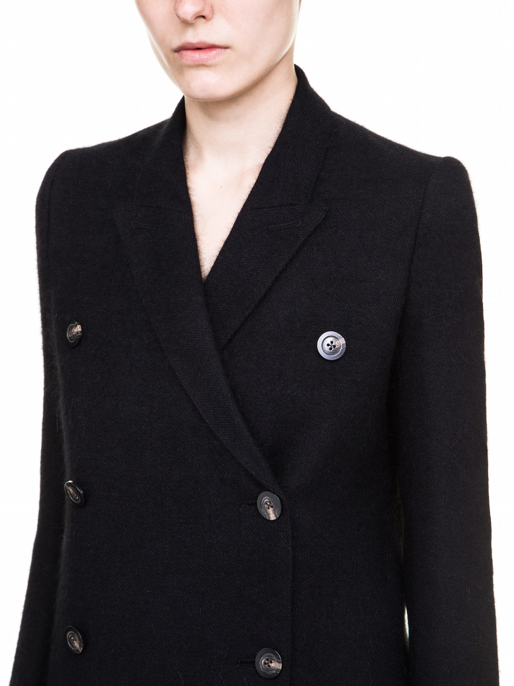RICK OWENS WOMENS PEACOAT IN MOHAIR