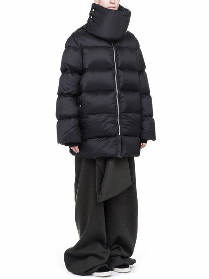 RICK OWENS FW17 GLITTER OFF-THE-RUNWAY FUNNEL NECKED COAT IN BLACK NYLON