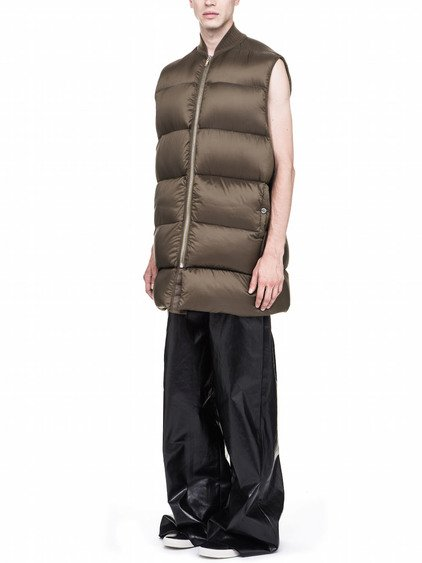RICK OWENS OFF-THE-RUNWAY COAT IN BEAN GREEN NYLON