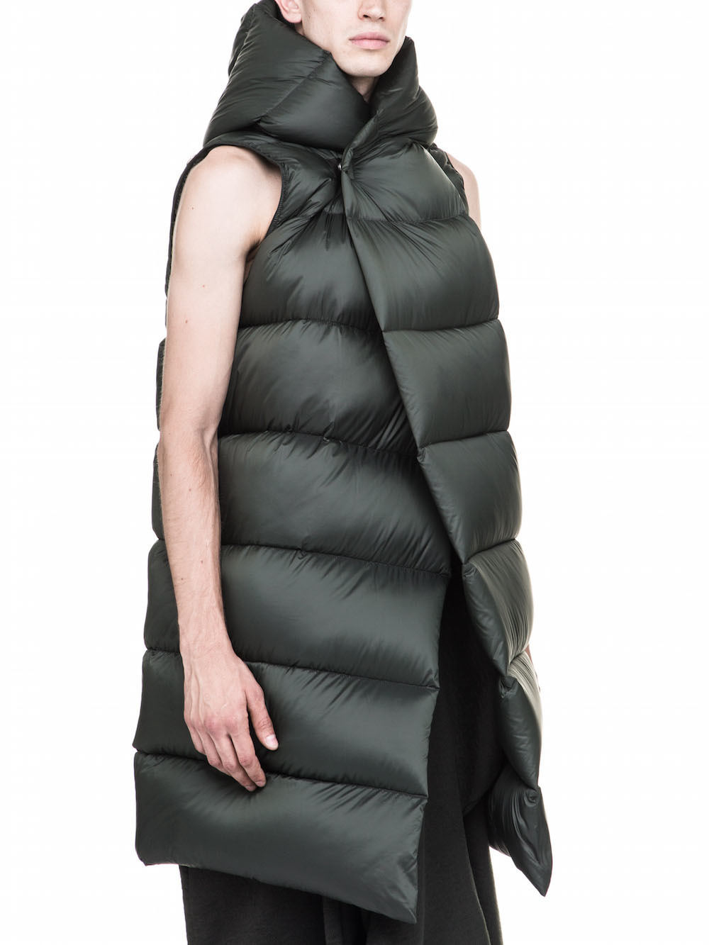 RICK OWENS FW17 GLITTER OFF-THE-RUNWAY LINER IN GREEN SLEEVELESS