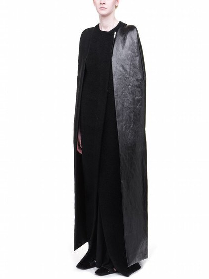RICK OWENS OFF-THE-RUNWAY CAPED ROBE IN BLACK