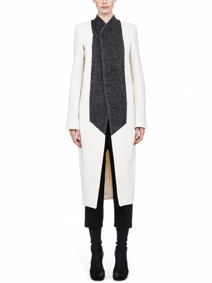 RICK OWENS FW17 GLITTER NEW TUSK COAT IN WHITE  AND BLACK WOOL