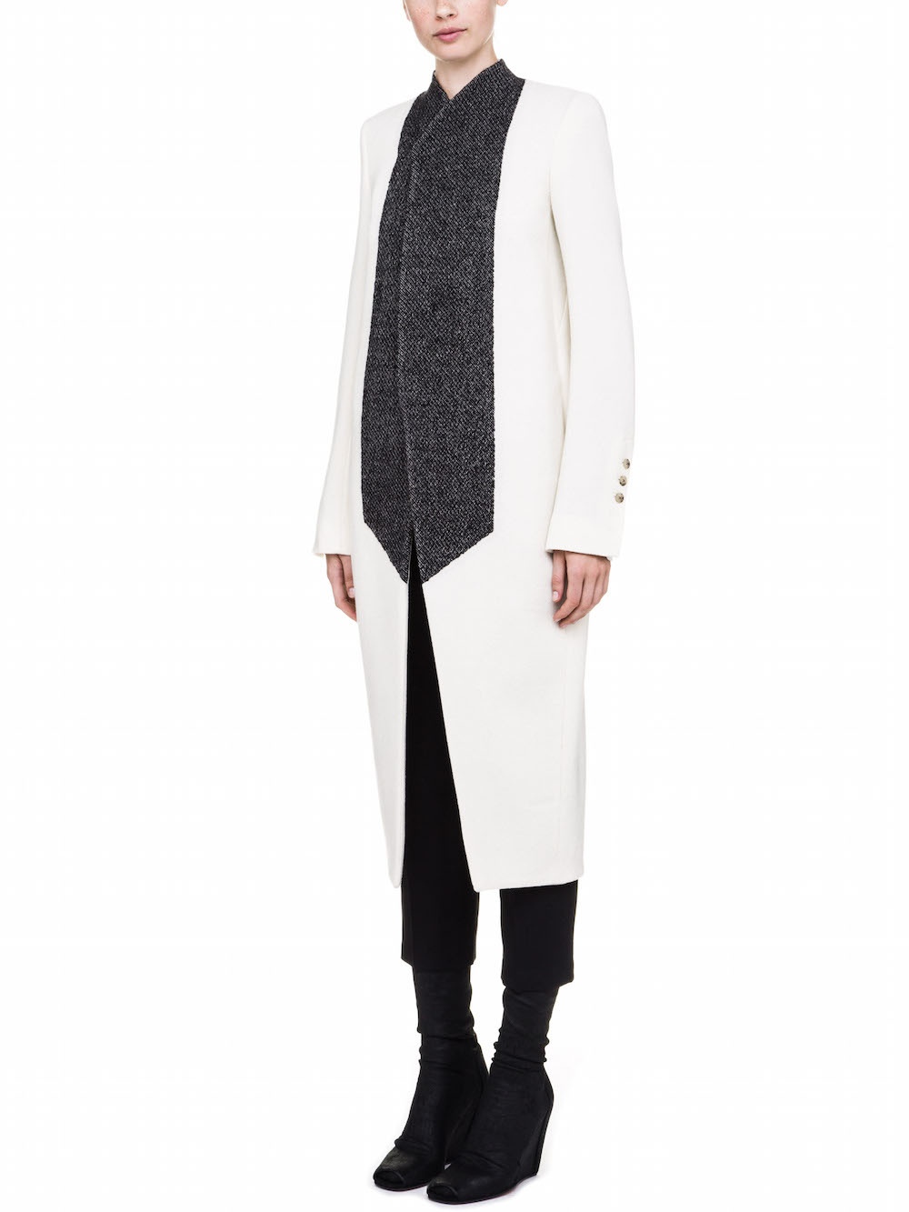 RICK OWENS COAT IN WHITE AND BLACK WOOL