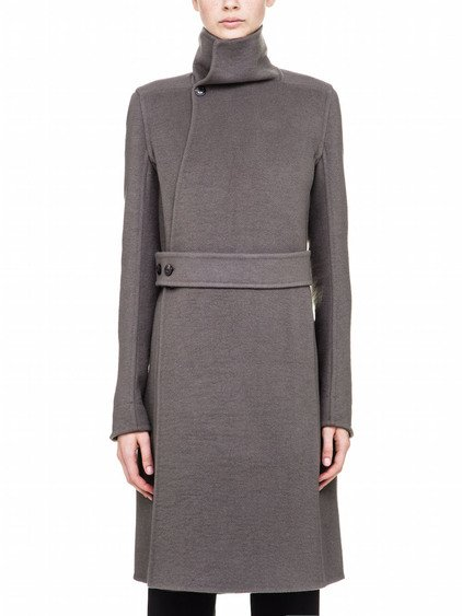 RICK OWENS FW17 GLITTER LIMO PEACOAT IN GREY CASHMERE