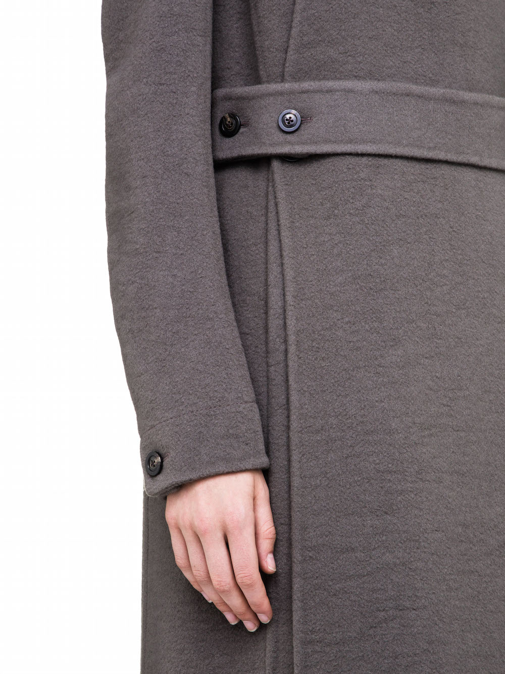 RICK OWENS WOMENS FALL WINTER COAT IN GREY CASHMERE