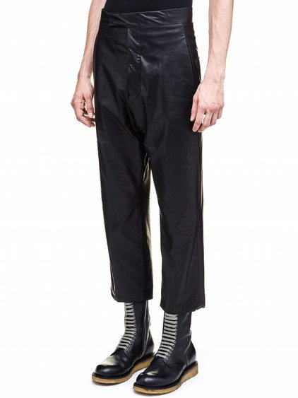 RICK OWENS TROUSERS IN BLACK LEATHER