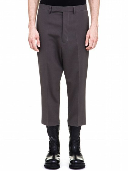 RICK OWENS CROPPED ASTAIRES TROUSERS IN GREY
