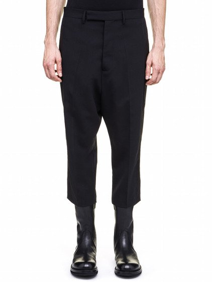 RICK OWENS TUX ASTAIRES CROPPED TROUSERS IN BLACK