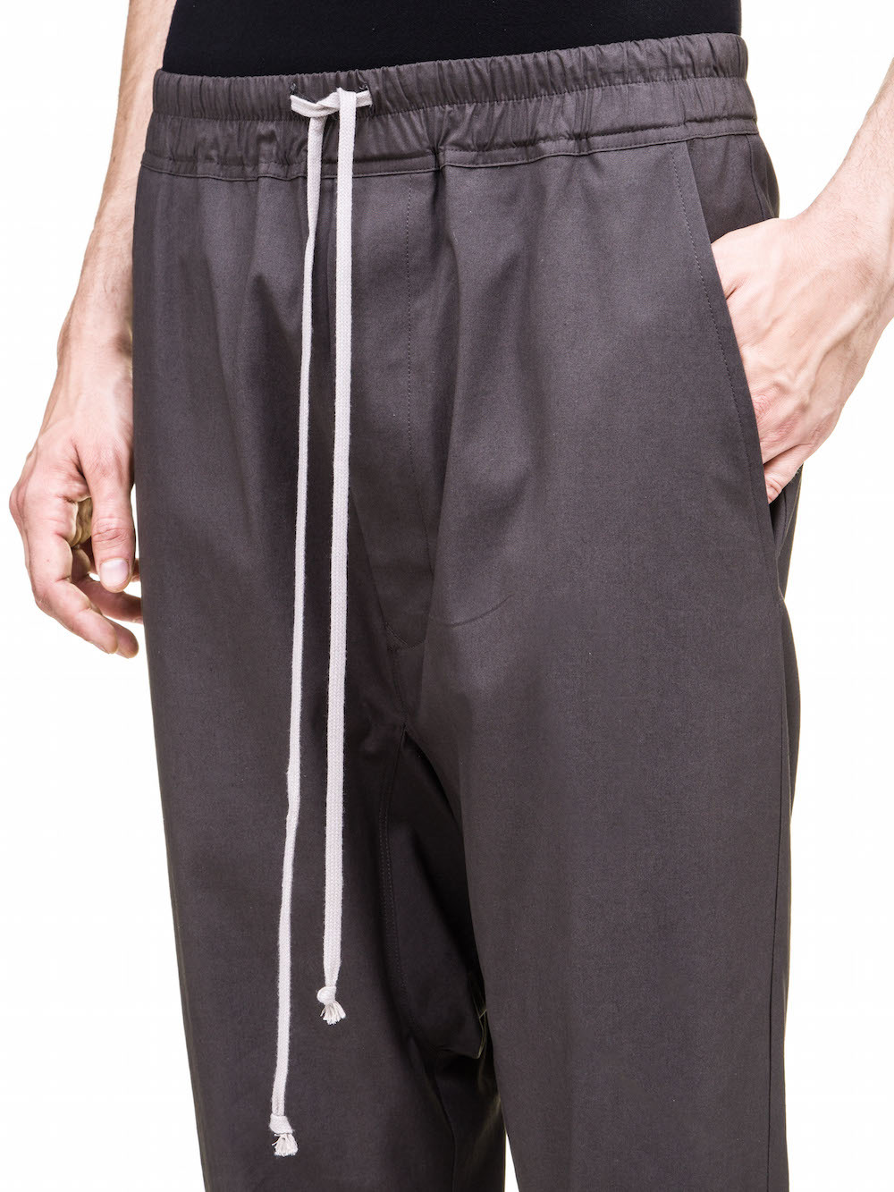 RICK OWENS DIRT DRAWSTRING CROPPED PANTS IN GREY