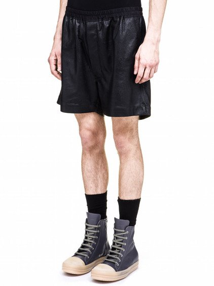 RICK OWENS BOXER SHORTS IN BLACK LEATHER