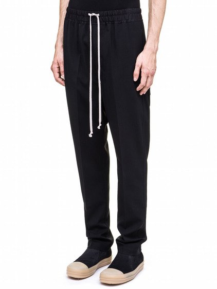 RICK OWENS DRAWSTRING ASTAIRES LONG TROUSERS IN BLACK