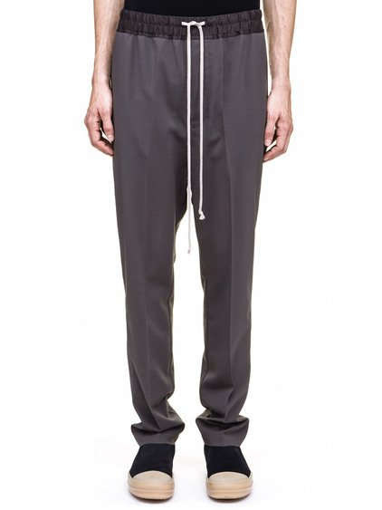 RICK OWENS DRAWSTRING ASTAIRES LONG TROUSERS IN GREY