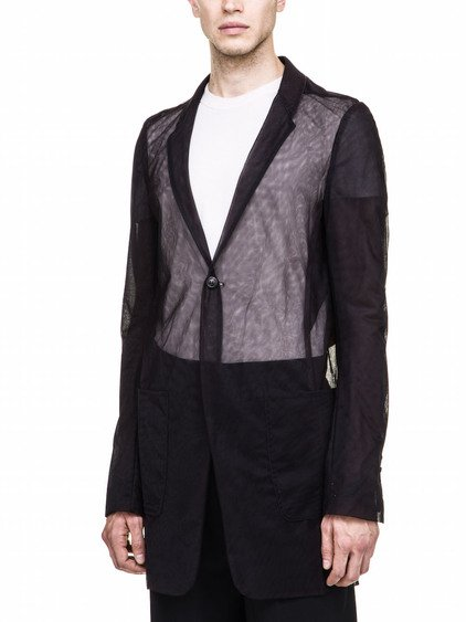 RICK OWENS  TRANSPARENT STRAVINSKY JACKET IN BLACK