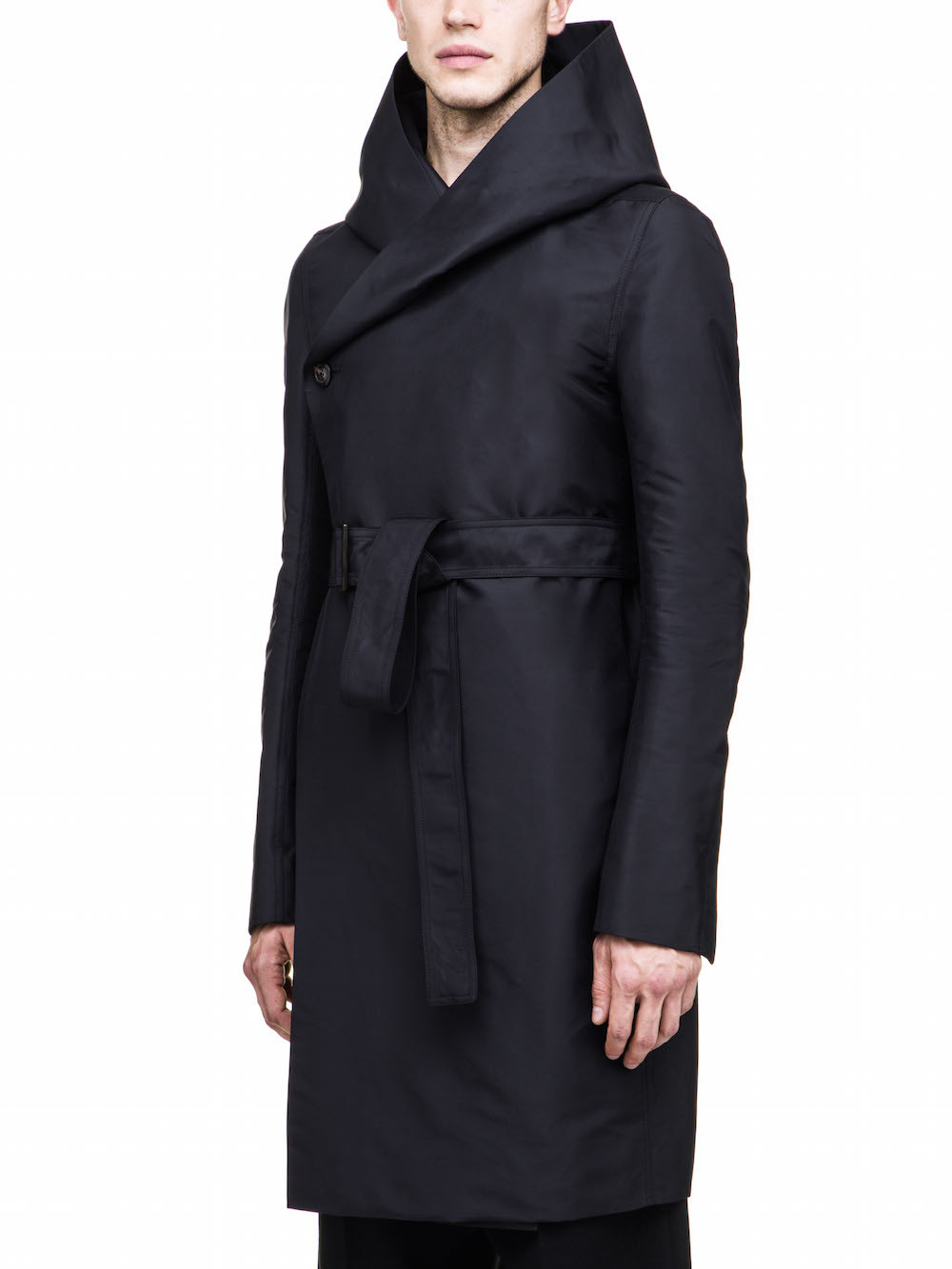 RICK OWENS HOODED TRENCH IN BLACK TECH