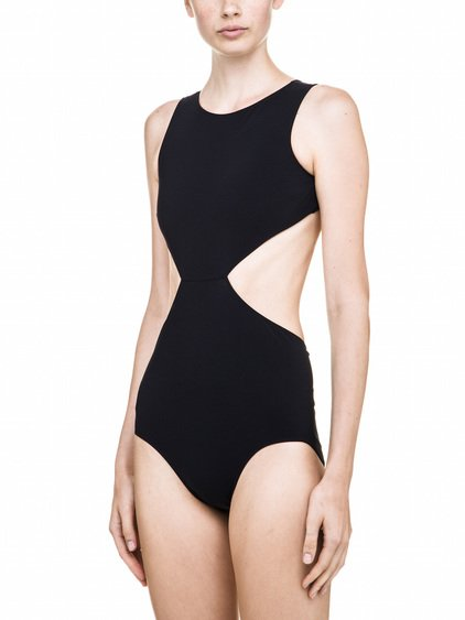 RICK OWENS NOTCHED ONE PIECE SWIMSUIT IN BLACK