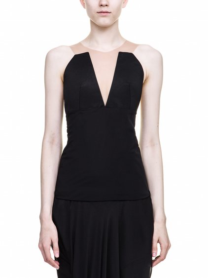 RICK OWENS PRONG BUSTIER TOP IN BLACK SLEEVELESS
