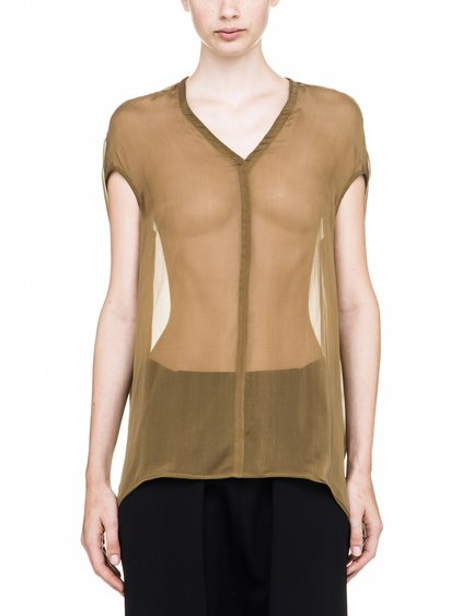 RICK OWENS FLOATING TOP IN FERN BROWN