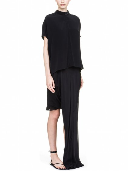 RICK OWENS ISLAND TOP IN BLACK SILK