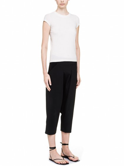 RICK OWENS LEVEL TEE SHORT IN WHITE