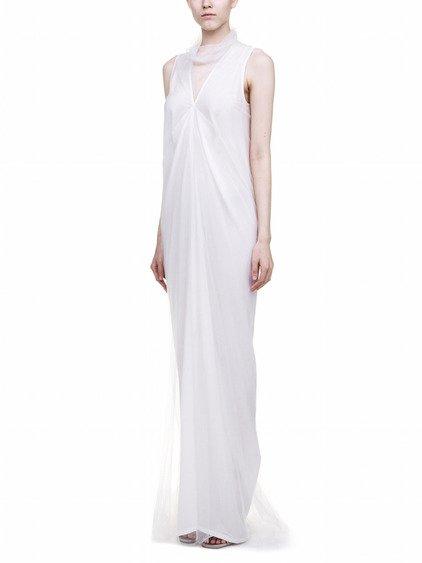 RICK OWENS MERMAID DRESS IN  WHITE SILK