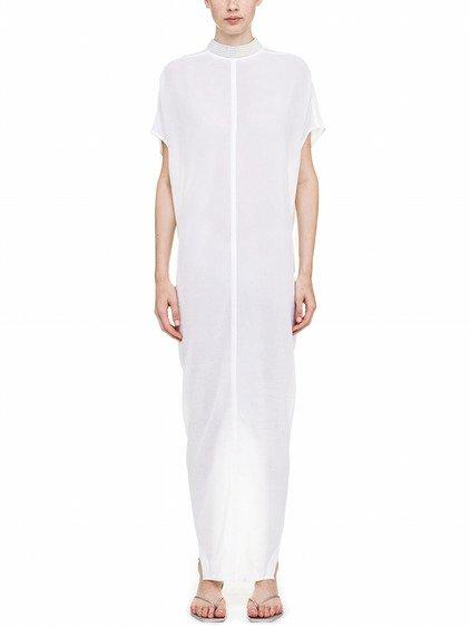 RICK OWENS ISLAND DRESS IN WHITE SILK