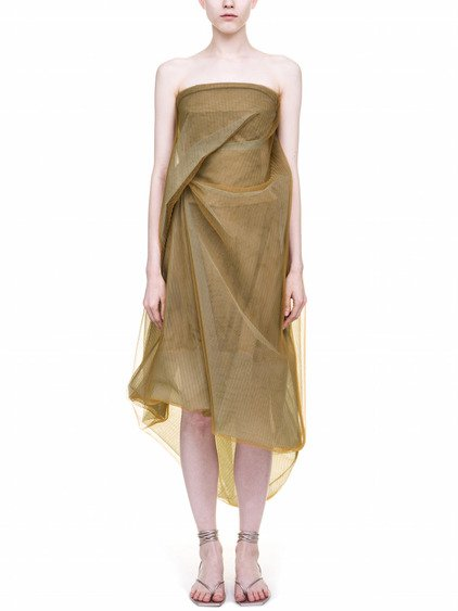 RICK OWENS  TWIST STRAPLESS DRESS IN BROWN TULLE