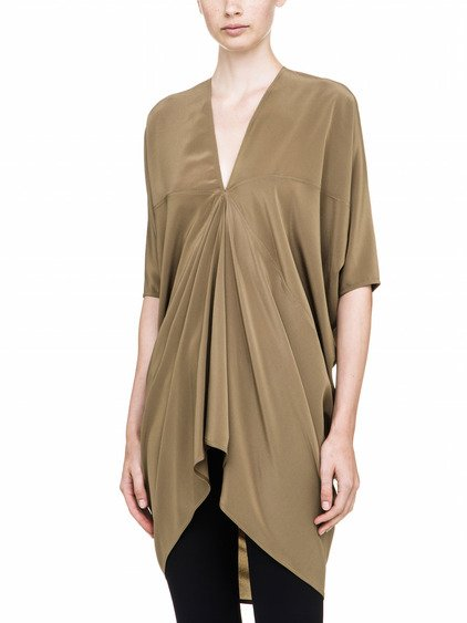 RICK OWENS KITE TUNIC IN BROWN SILK