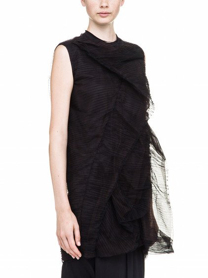 RICK OWENS SHIELD TUNIC IN BLACK TULLE