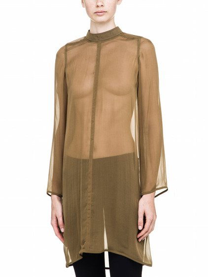 RICK OWENS LONGSLEEVES TUNIC IN BROWN