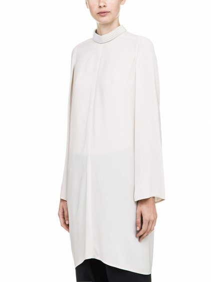 RICK OWENS  LONGSLEEVES TUNIC IN WHITE