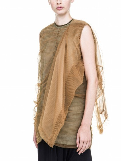 RICK OWENS NEW SMASH TUNIC IN BROWN TULLE