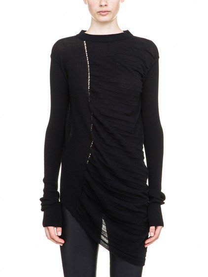 RICK OWENS ABSTRACT BIKER SWEATER IN BLACK